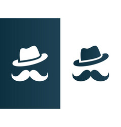 Person hat and mustaches logo - isolated vector