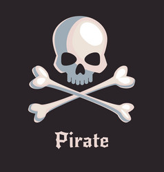 pirate skull and bones sign vector image vector image