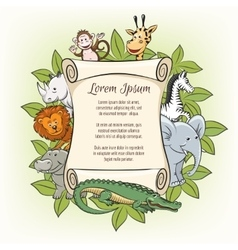 Poster template with zoo animals vector image