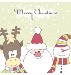 santa reindeer snow man illustration vector image vector image