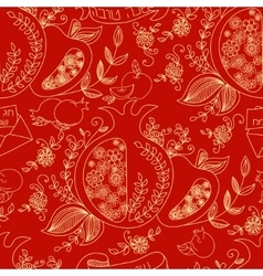 Seamless pattern with apples and honey Hand vector image vector image