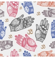 Seamless tribal pattern with hands vector image vector image