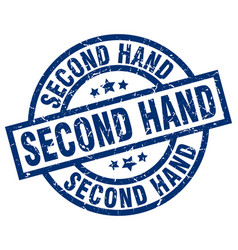 Second hand blue round grunge stamp vector