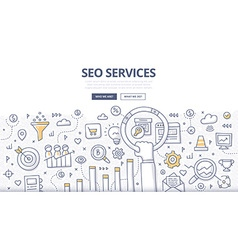 SEO Services Doodle Concept vector image