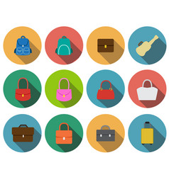 set of bag icons in flat style vector image vector image