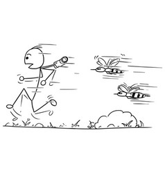 Stickman cartoon of male tourist running away vector