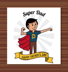 Super dad happy fathers day card ribbon decoration vector