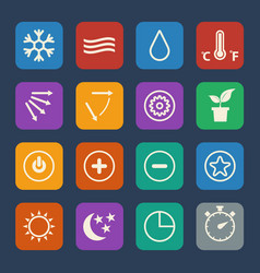 Symbol for air conditioning icons set flat design vector