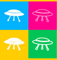 ufo simple sign four styles of icon on four color vector image