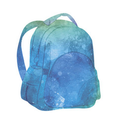watercolor backpack on white vector image