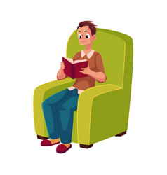 Young man reading book sitting in comfortable vector