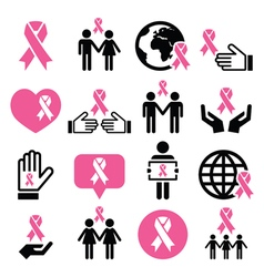 Breast cancer awareness pink ribbons icon set vector