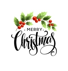 Merry christmas lettering with holly berry vector