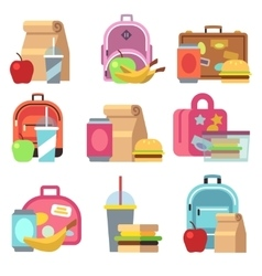School lunch food boxes and kids bags flat vector