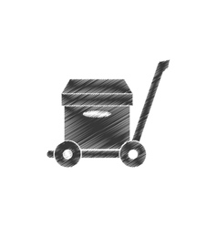 Drawing trolley cardboard box delivery concept vector