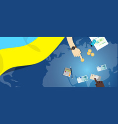 Ukraine economy fiscal money trade concept vector