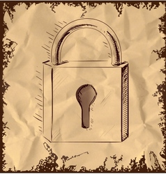 Lock icon isolated on vintage background vector image