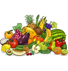 fruits and vegetables group cartoon vector image