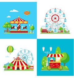 Colored amusement park composition vector