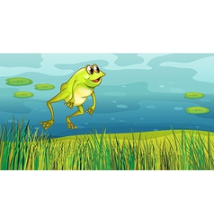 A frog jumping in the grass vector