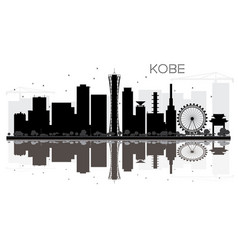 Kobe city skyline black and white silhouette with vector