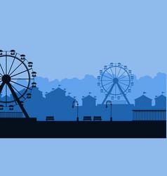 Amusement park beauty landscape silhouette vector
