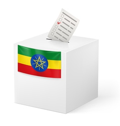 Ballot box with voting paper ethiopia vector