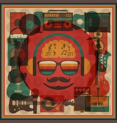 266retro hipster funky vector image vector image