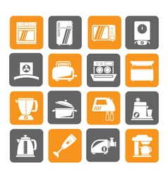 Silhouette kitchen appliances and equipment icons vector