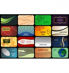 Set horizontal colorful business card vector