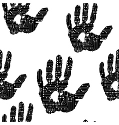Handprint with the electronic board pattern vector