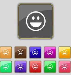 Funny face icon sign set with eleven colored vector