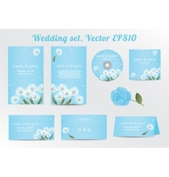 Set of floral wedding invitation template with vector
