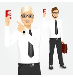 businessman pointing at a credit card vector image