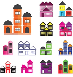 0708 house icons set vector