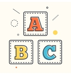 Abc blocks flat icon with long shadow alphabet vector