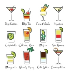 Alcohol cocktails linear icons vector