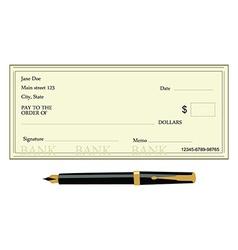 Bank check and pen vector