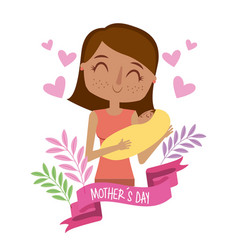 Beautiful woman holding baby mothers day ribbon vector