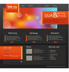 black and orange web site for business vector image vector image