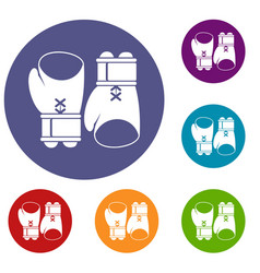 boxing gloves icons set vector image vector image