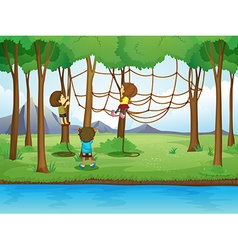 Children climbing rope in the forest vector