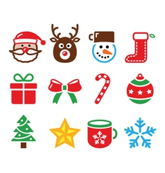 Christmas colorful icons set - Santa present vector image vector image