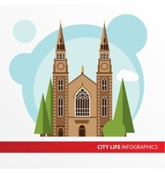 Church building icon in the flat style roman vector