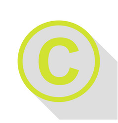 Copyright sign pear icon with flat vector