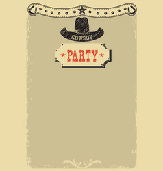Cowboy party background with western decoration vector