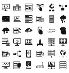 Data protection icons set simple style vector