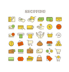 different shopping thin line color icons set vector image vector image