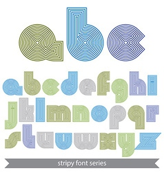 Extraordinary round striped font light lowercase vector