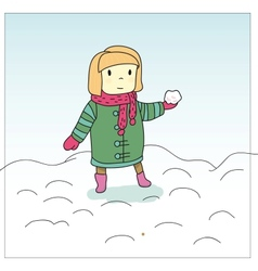 Girl and snowball vector